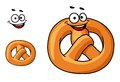 Funny crispy pretzel golden with a happy smile and the traditional knotted shape cartoon illustration Stock Photos