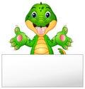 Funny crocodile cartoon with blank sign