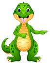 Funny crocodile cartoon pointing