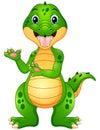 Funny crocodile cartoon presenting