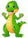 Funny crocodile cartoon waving hand