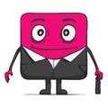 Funny cube dude businessman in suit. Square Royalty Free Stock Photo