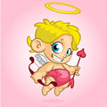 Funny cupid with bow and arrow. Vector illustration of a Valentine's Day Royalty Free Stock Photo