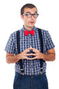 Funny curious nerd man Royalty Free Stock Photo