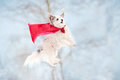 Funny curly super hero dog wearing red cloak flying sky Stock Images