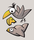 Funny cute birds stylized playing and flying Royalty Free Stock Photo