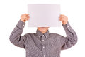 Funny cute boy with white sheet of paper Stock Photography