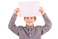 Funny cute boy with white sheet of paper Royalty Free Stock Images