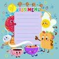 Funny and cute colorful kids menu