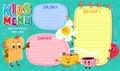 Funny and cute colorful kids menu