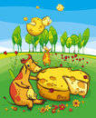 Funny, cute cows and flying cheeses. Summer meadow in the country. Vector illustration Royalty Free Stock Photo