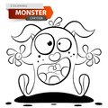 Funny, cute, crazy cartoon monster character. Coloring illustration. Royalty Free Stock Photo