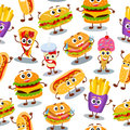 Funny, cute fast food with smiling human face pattern for kids r