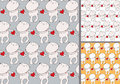 Funny cute teddy bear holding red heart pattern set. Isolated drawing.