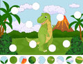 Funny cute tyrannosaurus on the background of a prehistoric nature. Complete the puzzle and find the missing parts of the picture Royalty Free Stock Photo