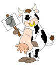 Funny dairy cow with placard. Stock Photography
