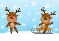 Funny deers two with sled Royalty Free Stock Photo