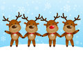 Funny deers on winter background Royalty Free Stock Image