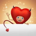 Funny devil Valentine heart cartoon holding banner Stock Image