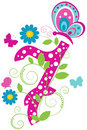 Funny digit 7 with butterflies Stock Image