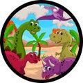 Funny dinosaur cartoon Stock Image