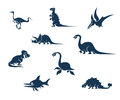 Funny dinosaurs silhouettes collection including pterosaur plesiosaur and ichthyosaur Stock Photos