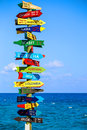 Funny direction signpost with distance to many different countries on mexican coastline Royalty Free Stock Images