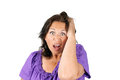 Funny discouraged woman middle age making face stress despair shock or bad surprise Stock Photos