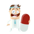 Funny doctor with big pill