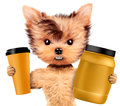 Funny dog holding shaker and jar with protein