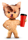 Funny dog holding shaker or water bottle