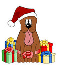 Funny dog illustration with christmas gifts Royalty Free Stock Photo