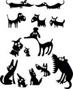 Funny dog silhouettes Royalty Free Stock Photography