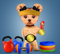 Funny dog with sport equipment and gold medal