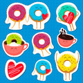 Funny donut characters stickers in leisure.