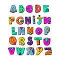 Funny doodle alphabet. Colorful creative design letters. ABC. Royalty Free Stock Photo