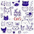 Funny doodle cat icons collection. Hand drawn pet, kid drawn des
