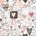 Funny doodle hearts icons seamless pattern. Hand drawn Valentine