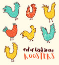 stock image of  Funny doodle illustration of roosters vector drawn