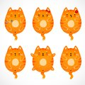 Doodle red cats set