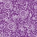 Funny doodle seamless pattern on lilac background fantasy Stock Photos