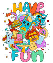 Funny doodle vector illustration, have fun Royalty Free Stock Photo