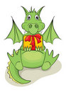 Funny dragon with a gift Stock Images