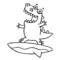 Funny dragon surfer caught a wave. Vector illustration.