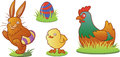 Funny easter animals set easters characters including a bunny a hen a chick and a colorful egg Stock Image