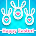 Funny easter card with big eared eggs like rabbit and greeting vector illustration for your cute holiday design cut out white Royalty Free Stock Photography