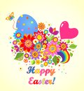 Funny easter greeting card with balloon and rainbow Royalty Free Stock Image