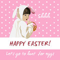 Funny easter holiday vector card bunny egg hunt happy greeting with girl in a costume holding a basket going to Stock Photos