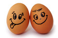 Funny easter smile eggs love happy eggs couple Stock Photography