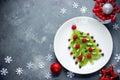 Funny edible Christmas tree, Christmas breakfast idea for kids.